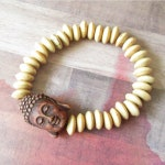 Brown Buddha Beaded Stretch Bracelet with Wood Saucer Beads