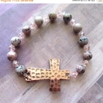 ON SALE Hammered Bronze Cross Stretch Bracelet with Rosary Style Beads