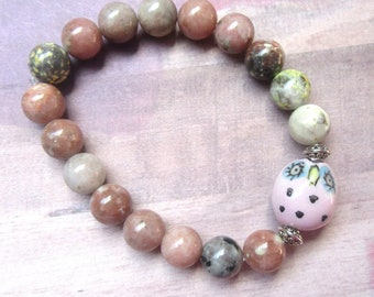 Whimsical Pink Owl Stretch Bracelet with Plum Agate Beads