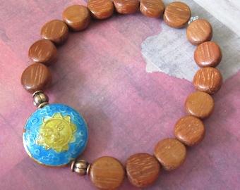 Cloisonné Sun Stretch Bracelet with Round Wood Beads