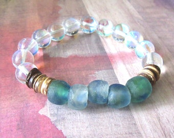 Recycled Blue/Green Glass Stretch Bracelet with Ghost & Wood Beads