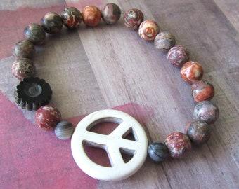 Large Peace Sign Stretch Bracelet with Leopard Jasper Beads