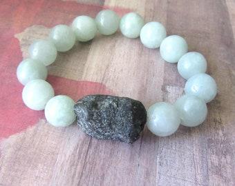 Raw Turquoise Chunk Beaded Bracelet with Pale Blue Aquamarine Beads