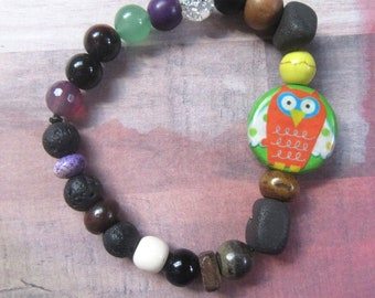 Whimsical Owl Beaded Stretch Bracelet with Mixed Beads