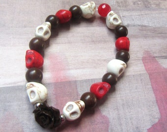 Red and Beige Skull Bracelet with Brown Rose & Beads