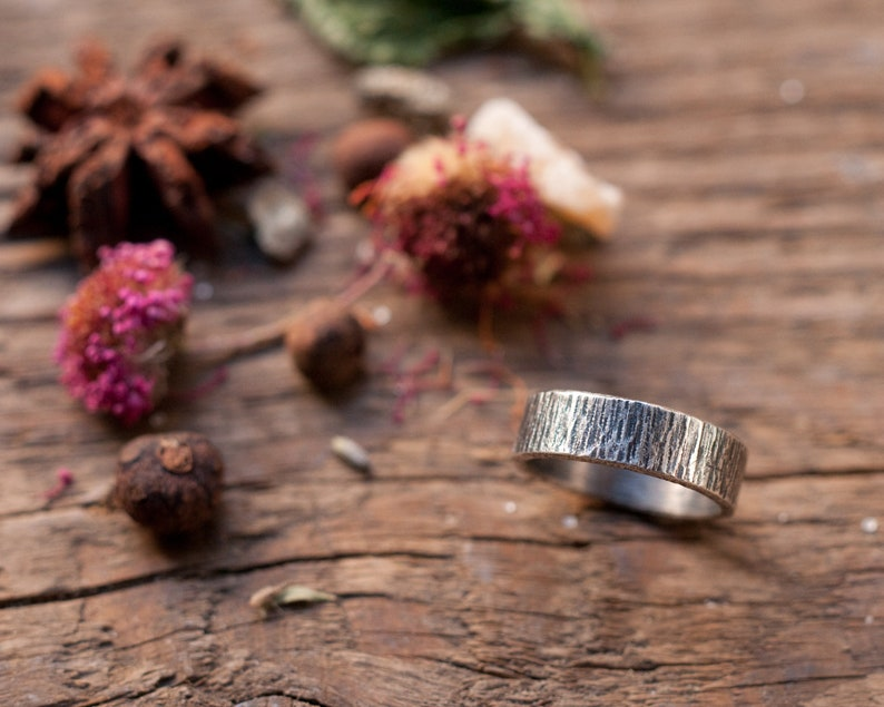Textured rustic wedding band wide stacking ring bark effect image 0