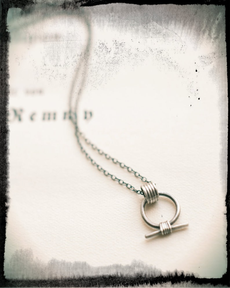 Shen ring necklace miniature amulet in oxidised sterling image 0