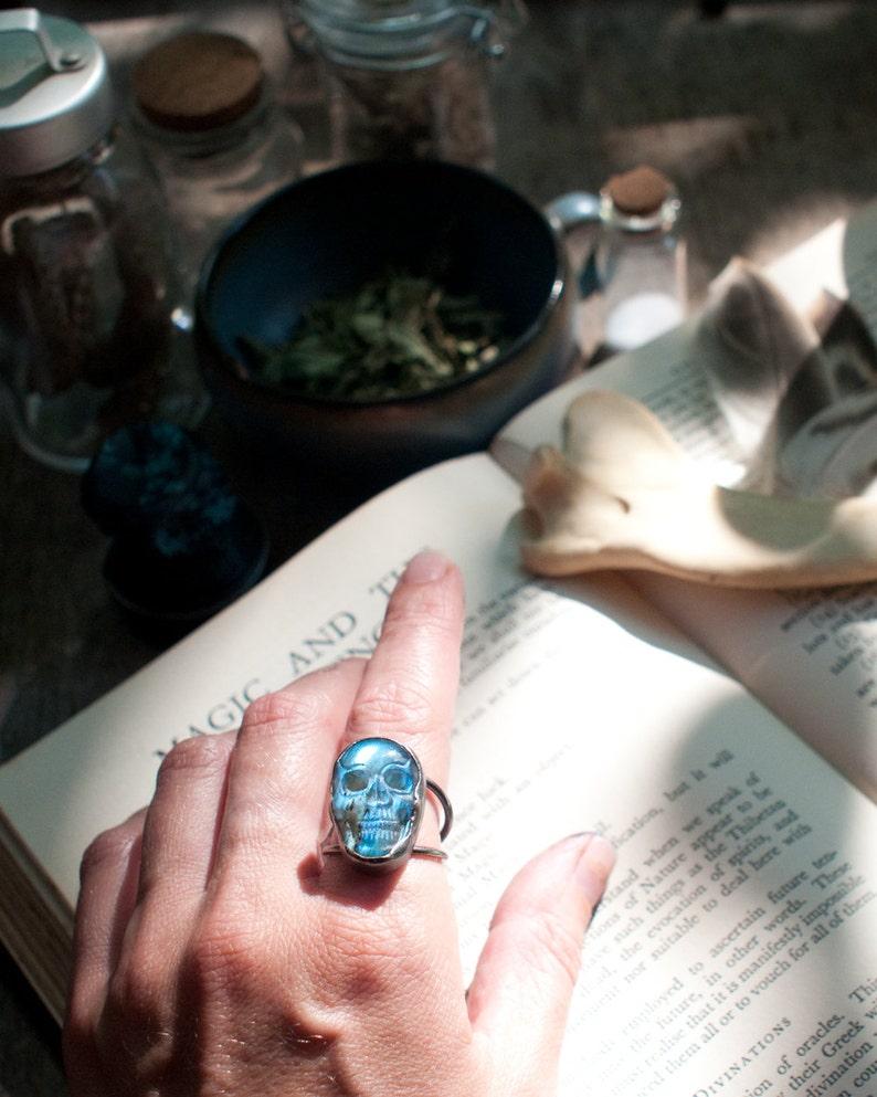 Labradorite skull ring carved gemstone ring sterling silver image 0