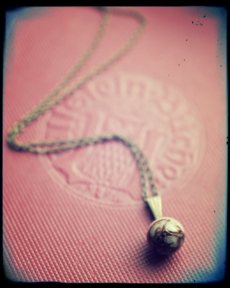 Antique Venetian glass with goldstone swirl button pendant image 0