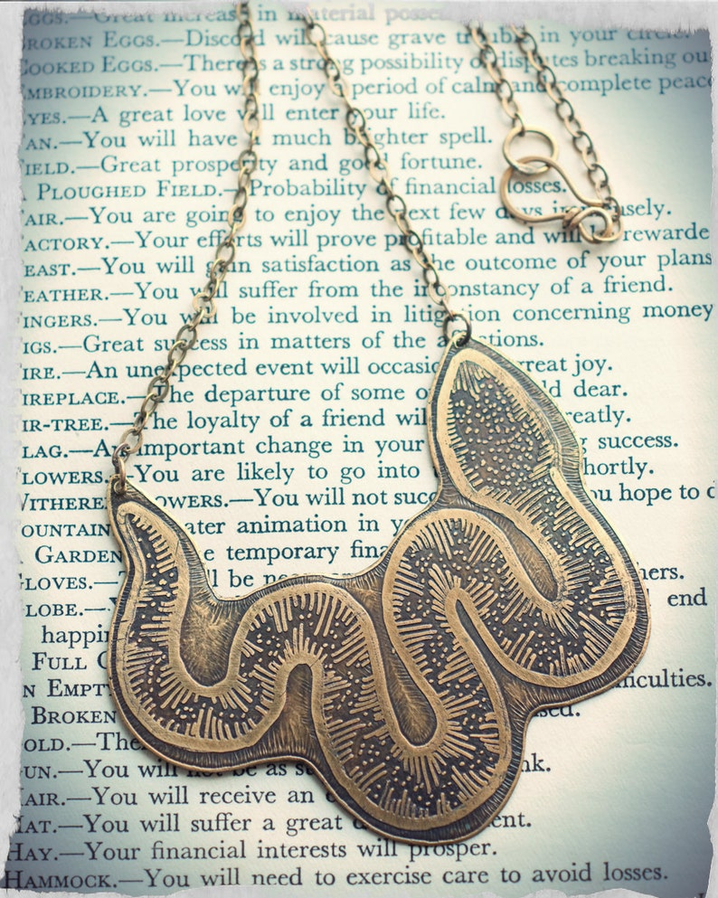 Snake necklace etched brass hand drawn serpent symbol image 0