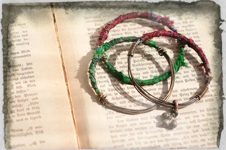 Vagabond bangle set three wire and silk bangles with tribal image 0