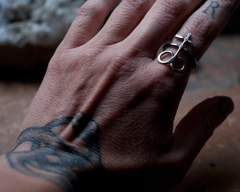 Leviathan Cross ring Alchemical symbol Sulphur Brimstone image 0