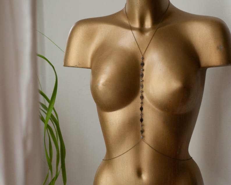 Labradorite body chain waist and necklace harness in oxidised image 0