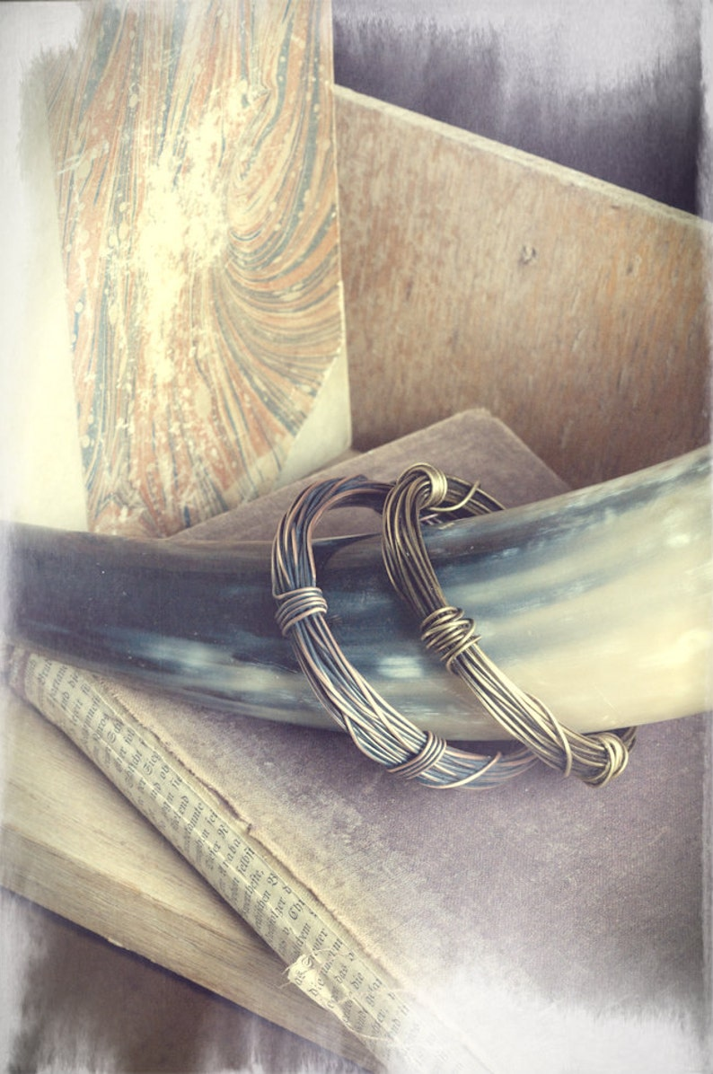 Thick chunky rustic wire wrapped bangle oxidised copper image 0