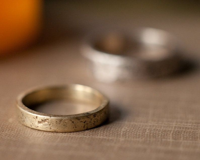 Rustic wedding band raw and textured solid gold wedding ring image 0