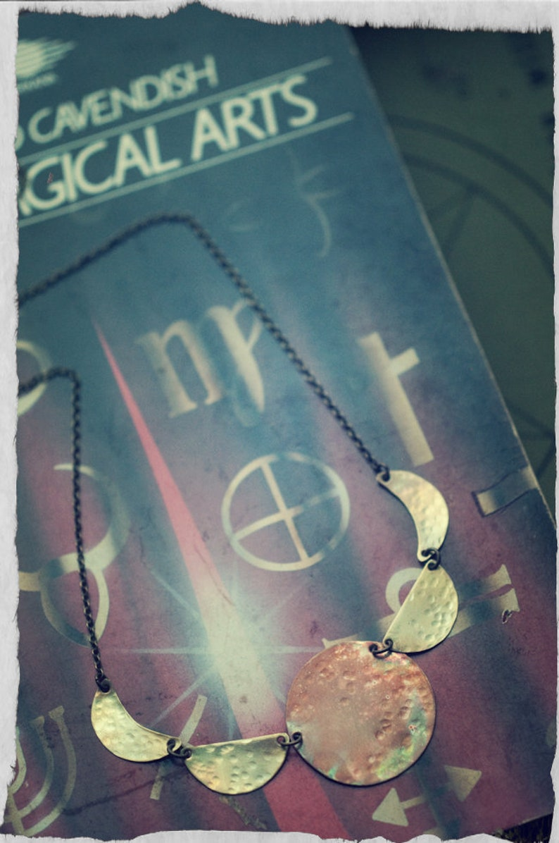 Moon phase necklace lunar cycle mixed metal copper and image 0