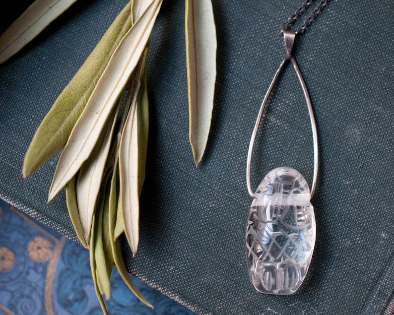 Owl necklace carved rock crystal pendant Goddess necklace image 0
