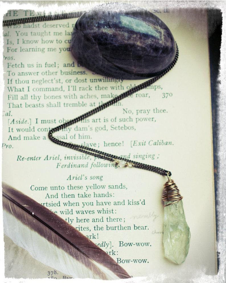 Prasiolite shard necklace rough greened amethyst point wire image 0
