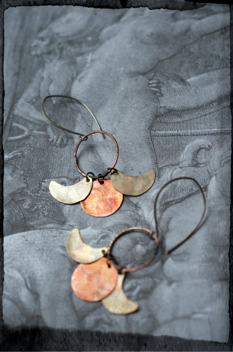 Triple moon phase earrings with mixed metal copper and brass image 0