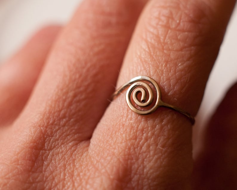 Sacred Geometry Fibonacci spiral ring in 8k yellow gold or 14k image 0