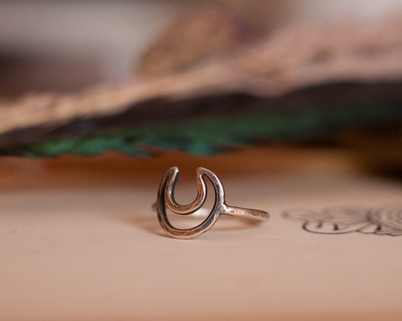 Sterling silver crescent moon ring Horned God ring witchy image 0