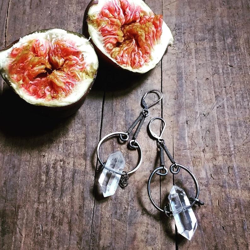 Clear quartz earrings gothic punk bridal earrings sterling image 0