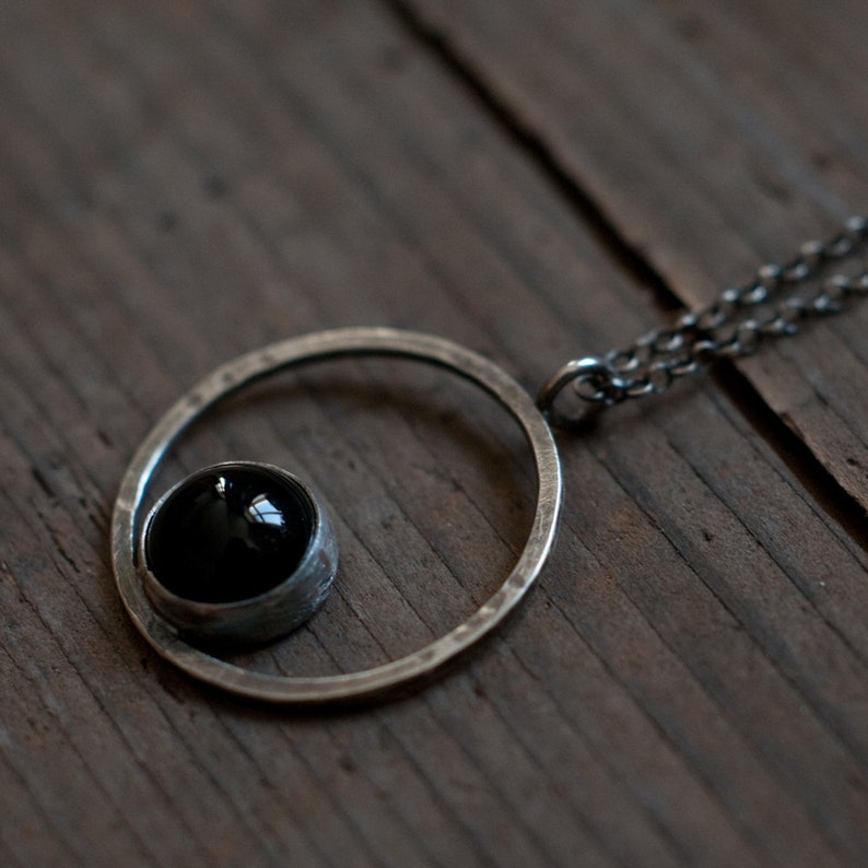 Horizon necklace circle pendant black onyx and sterling image 0