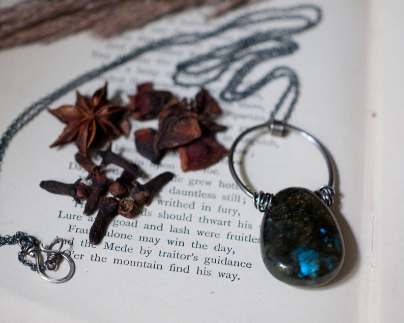 Labradorite tumble stone pendant sterling silver wire wrapped image 0