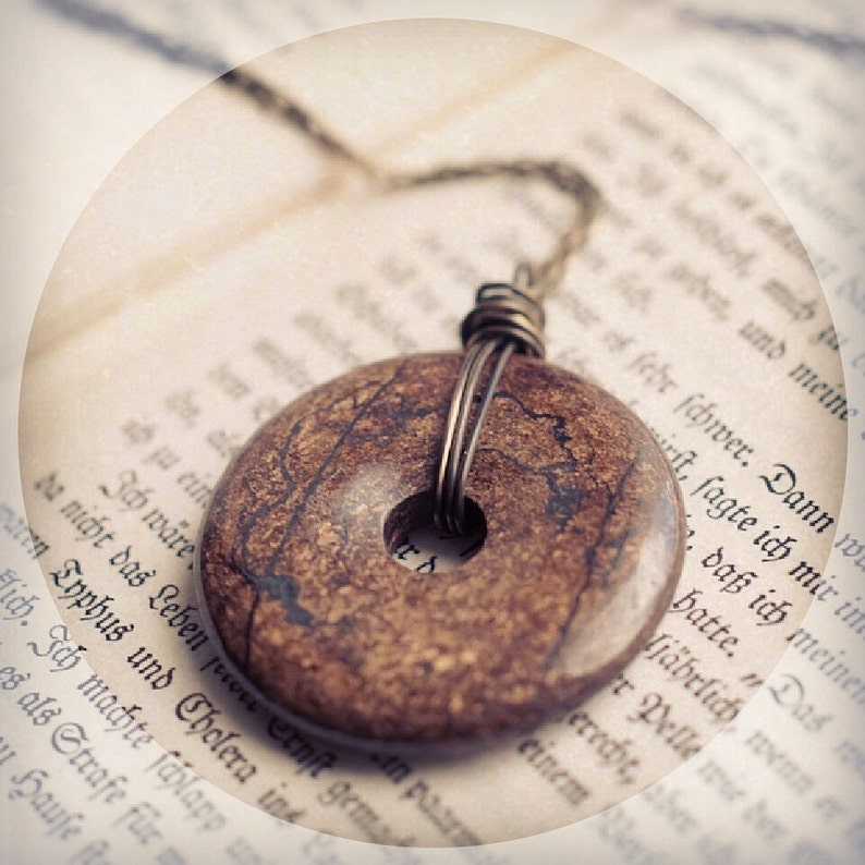 Bronzite pendant long necklace gemstone ring donut talisman image 0