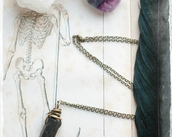 Nuummite wand, gemstone point necklace. wire wrapped, antiqued brass or sterling silver, Magickal talisman, mineral amulet, Sorcerers Stone