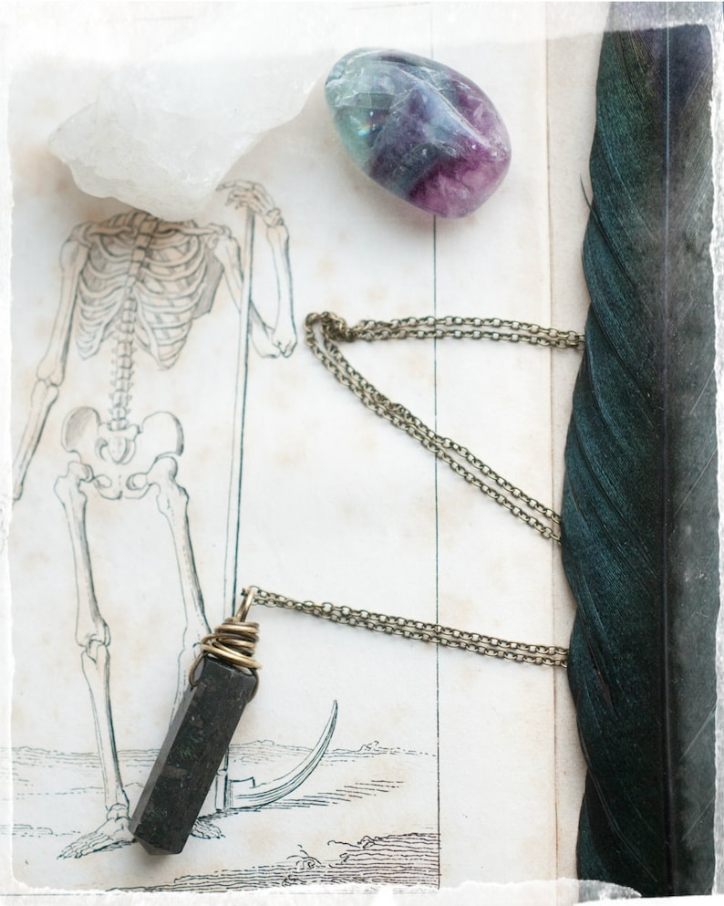 Nuummite wand gemstone point necklace. wire wrapped antiqued image 0