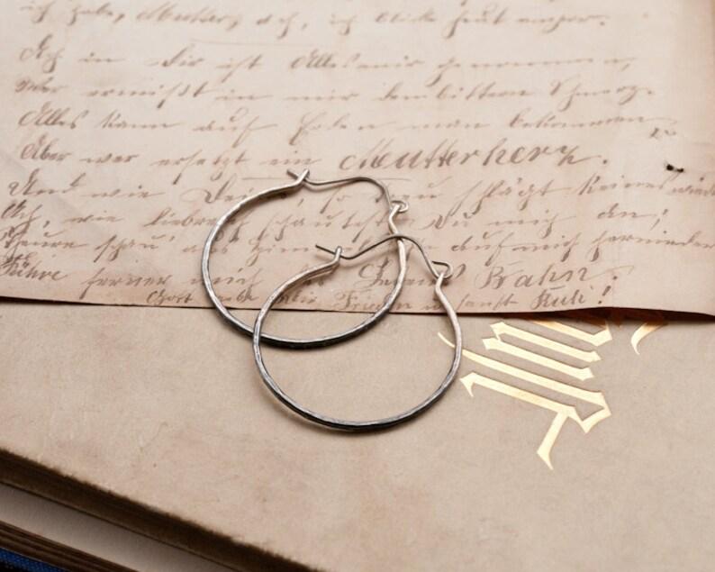 Sterling silver rustic hoop earrings skinny hoops with ombre image 0