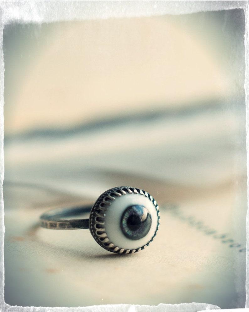 Glass eye ring evil eye protection talisman dolls eye image 0