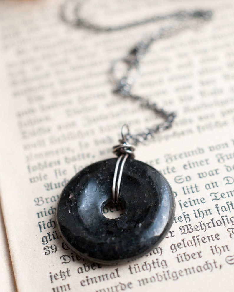 Nuummite pendant gemstone donut sterling silver wire image 0