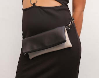 Vegan silver bag, silver flat bum bag, fanny pack for women, silver hip bag, black vegan bags - Silver and Black