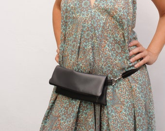 Grey fanny bag, black hip pack, travel fanny pack, bum bags for women, fashion fanny pack, grey banana bag - Grey and black