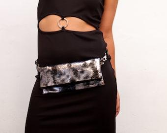 Silver fanny pack, vegan shoulder bag, women belt bag, silver vegan fanny pack, silver flat bum bag - Future