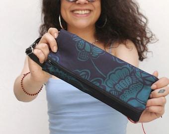 Purple fanny pack, floral vegan bag, blue convertible bag, flat bum bag, fanny pack for women - Terence