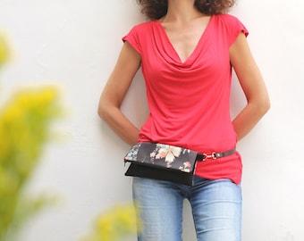 Floral fanny pack, japanese fanny pack, floral vegan bag, black convertible bag, floral waist bag - Fay