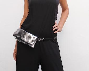 Fanny pack, silver shoulder bag, women belt bag, vegan bum bag, flat bum bag