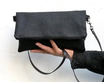 Grey crossbody bag, gray clutch, grey women clutch bag, grey bag, women crossbody bag - Pensamiento