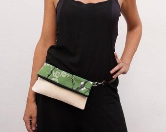 Green fanny pack, mini fanny pack, floral vegan bag, green convertible bag, floral waist bag - Green Blossom