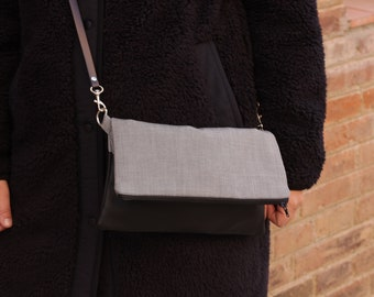 Grey bag, grey handbag, gray crossbody bag, gray handbag, women bag, gray woman clutch - Libertad