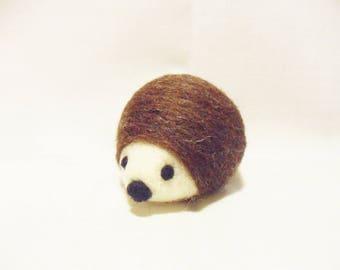 Needle Felted Hedgehog -  miniature hedgehog figure - Merino & Corriedale wool - wool felt hedgehog