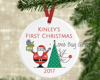 Personalized • Child's First Christmas • Santa and Rudolph • Christmas Ornament