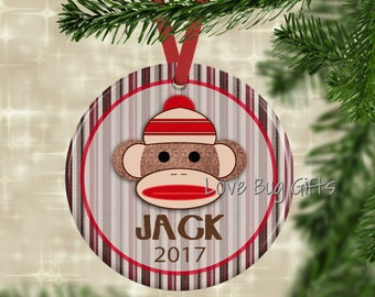 Personalized Sock Monkey • Christmas Ornament