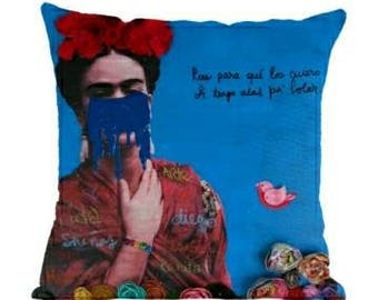 LIMITED EDITION Frida Kahlo Throw Pillow, Decorative Pillow, Blue Pillow, Frida Quote 18x18