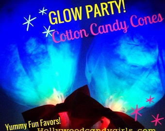16 Blue Glow In The Dark Cotton Candy Favors