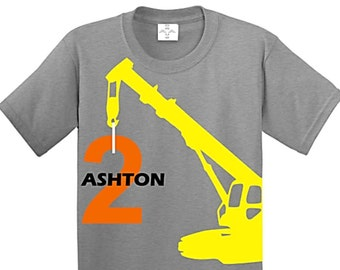 Construction Birthday Shirt, Construction Party, Crane