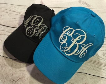 Glitter monogram baseball hat